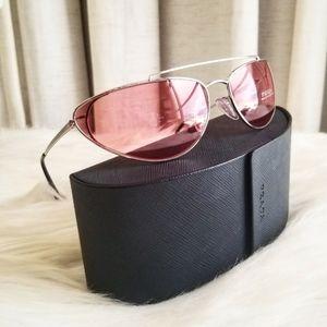 Prada SPR62V Slim Cat Eye Red Tint Sunglasses